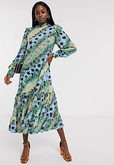 Never Fully Dressed trapeze midaxi dress with pleated skirt in green contrast scarf print-Multi
