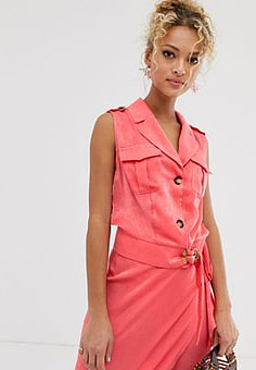 Never Fully Dressed tuxedo style plunge front top wit button front in pink-Multi