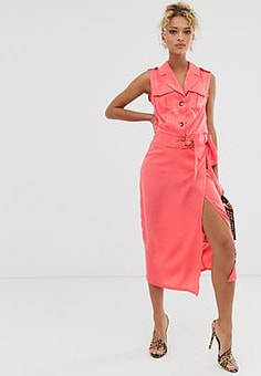 Never Fully Dressed wrap front skirt in pink-Multi