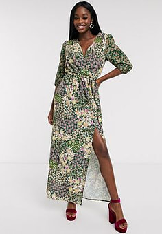 Never Fully Dressed wrap maxi dress with high thigh split in green floral print-Multi