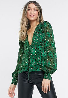 Never Fully Dressed wrap volume sleeve top co-ord in green leopard print