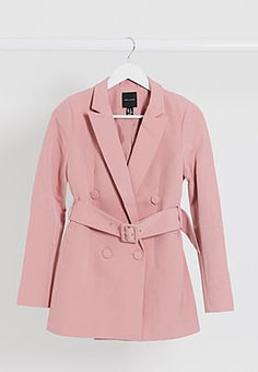 New Look belted blazer in pink co ord