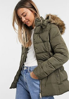 New Look fitted padded jacket in khaki-Neutral