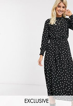 New Look frilled high neck maxi dress in polka dot-Black