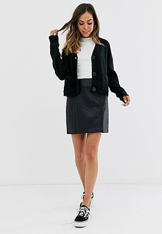 New Look leather look mini skirt in black