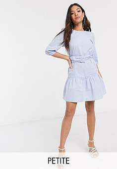New Look belted poplin volume sleeve mini dress in light blue
