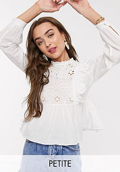 New Look cutwork embroidered peplum top in off white