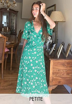 New Look flutter sleeve midi dress in green floral
