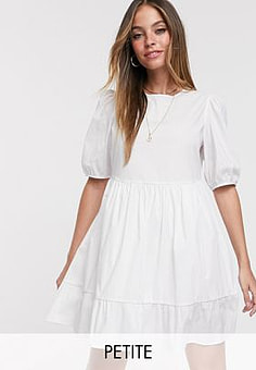 New Look mini poplin smock dress with puff sleeves in white