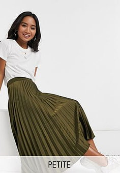 New Look pleated midi skirt in khaki-Green