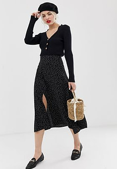 New Look skirt with split side in polka dot-Black