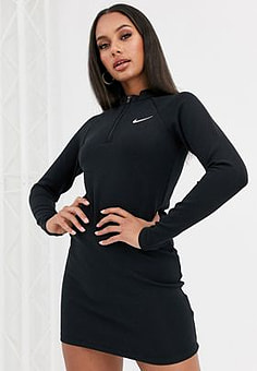 NIKE black long sleeve mini dress