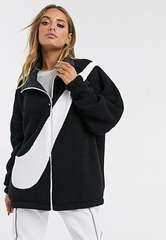 NIKE black teddy fleece with over