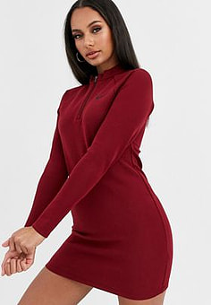 NIKE burgundy long sleeve mini dress-Red