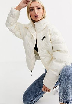NIKE cream high neck puffer jacket