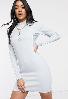 NIKE DNA Contrast Seam long sleeve grey mini dress