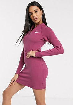 NIKE long sleeve mauve mini dress-Black