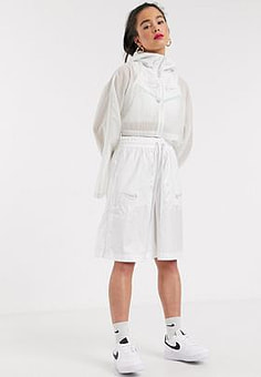 NIKE Swoosh cropped Hooded white Woven Jacket