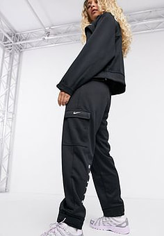 NIKE swoosh utility pocket joggers in black