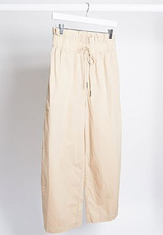 Noisy May cargo trousers with paperbag waist in beige-Neutral