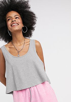 Noisy May cropped vest top in grey