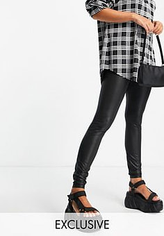 Noisy May faux leather legging in black