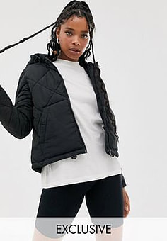 Noisy May grid padded hooded jacket-Black