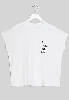 Noisy May hello slogan high neck t-shirt in white
