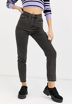 Noisy May high waist ankle grazer jeans-Black