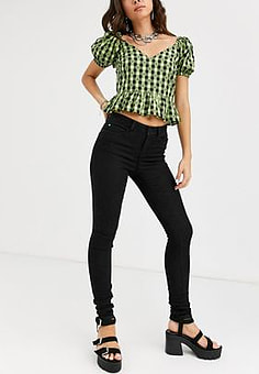 Noisy May Lucy high waist skinny jeans 34 leg-Black
