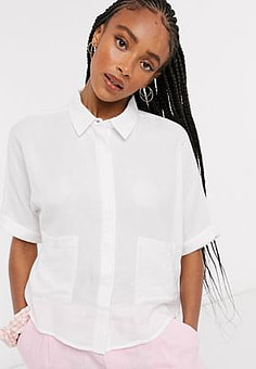 Noisy May pocket front boxy cropped shirt in white