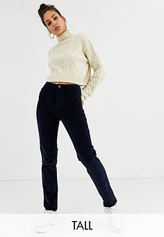 Noisy May cord straight leg trousers in navy