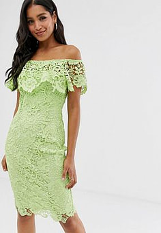 Paper Dolls bardot lace pencil dress with frill detail in lime-Green