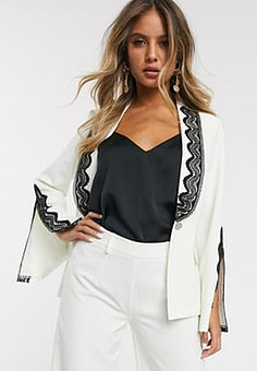 Paper Dolls blazer with lace and split detail co-ord in ivory-White