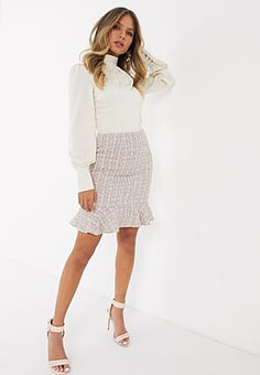 Paper Dolls flippy boucle skirt in pink