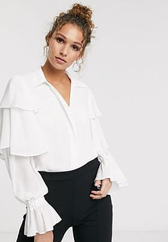 Paper Dolls frill sleeve blouse in white