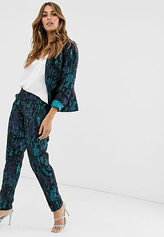 Paper Dolls marble jacquard trousers-Green