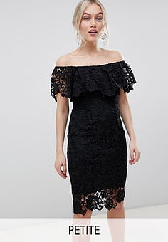 Paper Dolls bardot lace pencil dress with frill detail in black