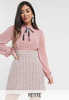 Paper Dolls two in one boucle dress in pink