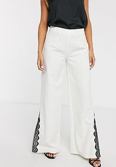 Paper Dolls wide leg trouser with lace split detail co-ord in ivory-White