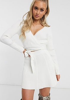 Parallel Lines flippy mini skirt co-ord-Cream