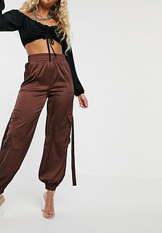 Parallel Lines high waisted cargo trousers with utility detail-Brown