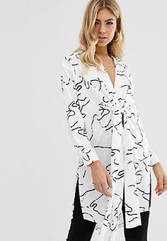 Parallel Lines longline knot front shirt in abstract print-White