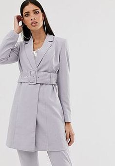 Parallel Lines longline tailored blazer coord with belt in soft grey-Blue