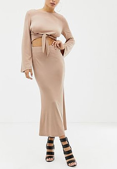 Parallel Lines midaxi pencil skirt co-ord-Beige