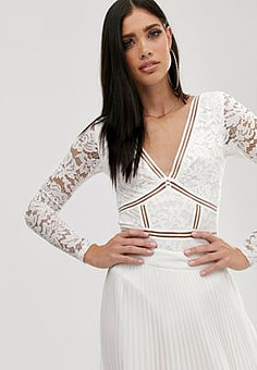Parallel Lines plunge front long sleeve body with lace inserts in white