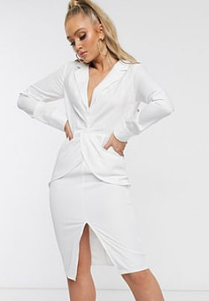 Parallel Lines plunge front midi dress with thigh split-White