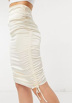Parallel Lines ruched skirt in champagne-Gold