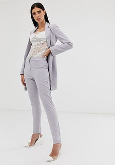 Parallel Lines tailored cigarette trouser coord in soft grey-Blue