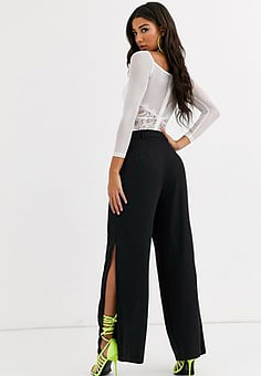 Parallel Lines wide leg trousers with split leg co-ord-Black